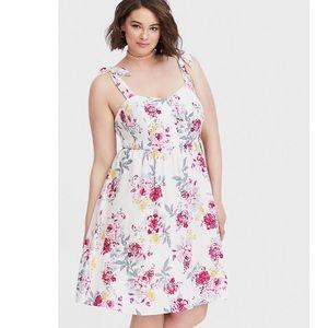 Torrid Floral Tie Shoulder Dress Size Large